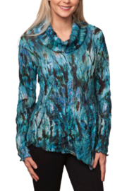 Sno Skins Stormy Print Crinkle Cowl Neck Top - Product Mini Image