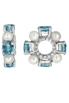 Storywheels 14 Kt White Gold Blue Zircon And Pearl Wheel Charm - Product List Image