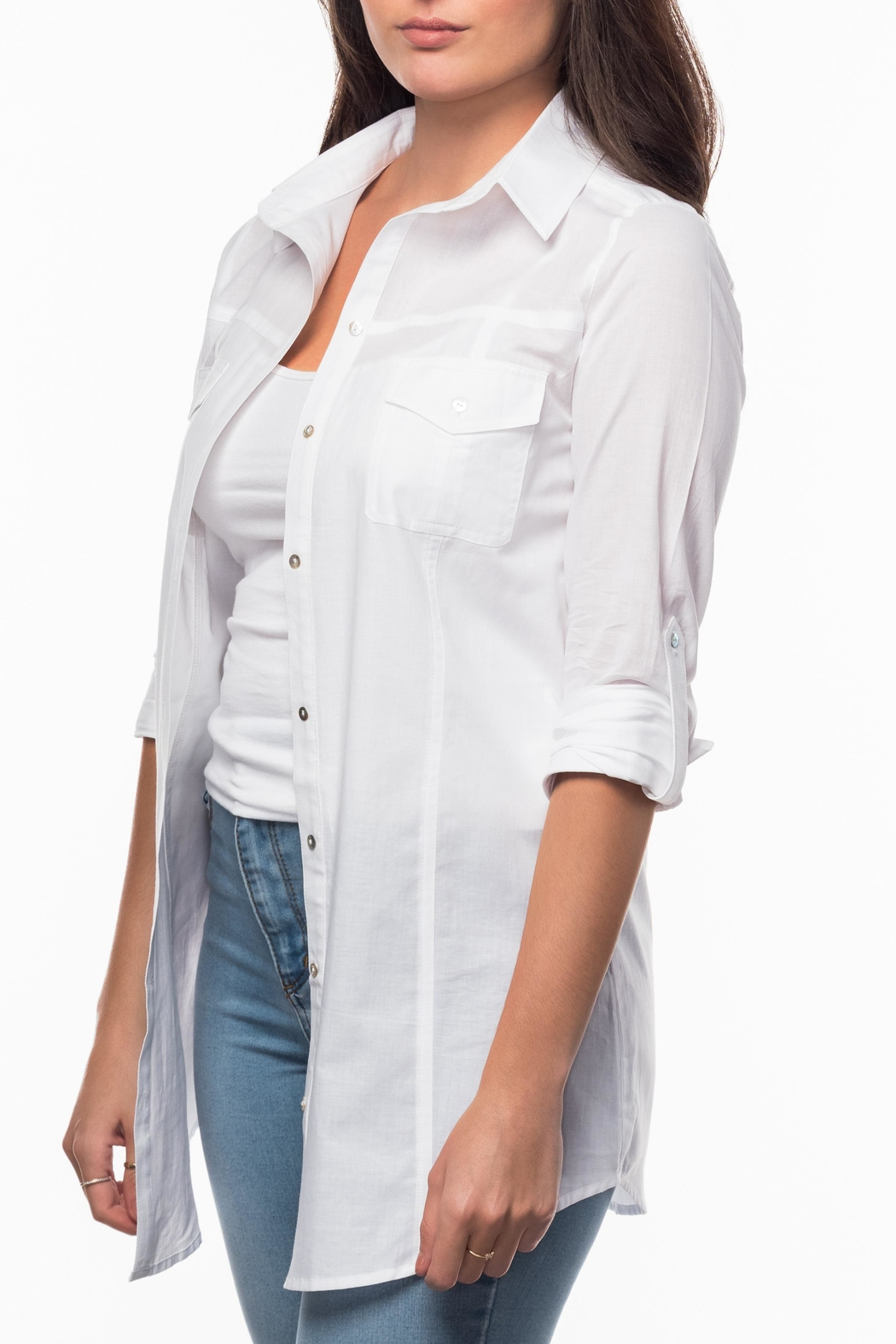 Olive & Loom Straight Collar Shirt - Front Cropped Image