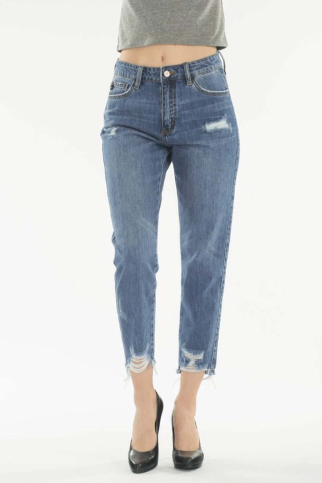 KanCan Straight Crop Jeans - Front Full Image