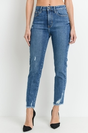 just black Straight-Leg Distressed Denim - Product Mini Image