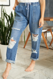 White Birch  Straight Leg Distressed Denim Pants - Front full body
