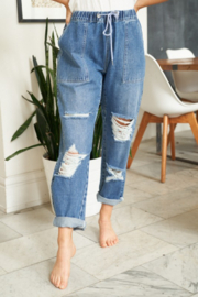 White Birch  Straight Leg Distressed Denim Pants - Front cropped