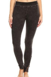 T Party Straight Leg Yoga Pants with Lace Inserts - Front cropped