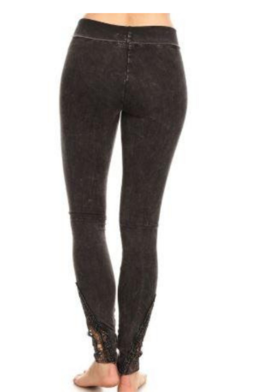 T Party Straight Leg Yoga Pants with Lace Inserts - Front Full Image