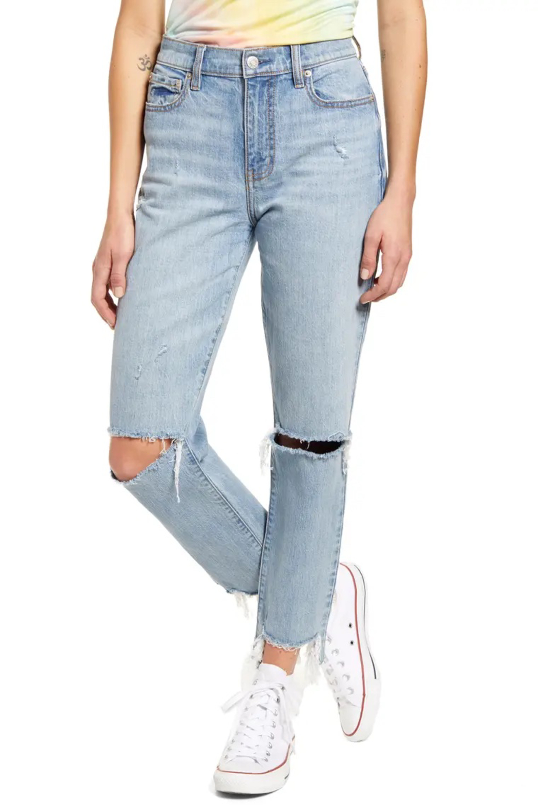 Daze Straight Up Ripped Ankle Skinny Jeans - Main Image
