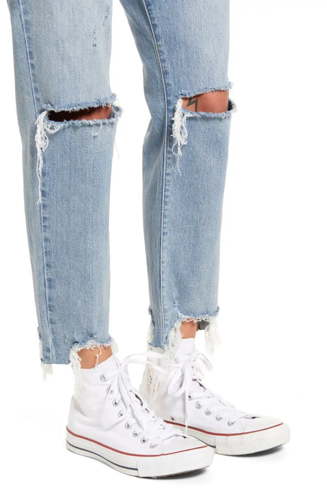 Daze Straight Up Ripped Ankle Skinny Jeans - Back Cropped Image