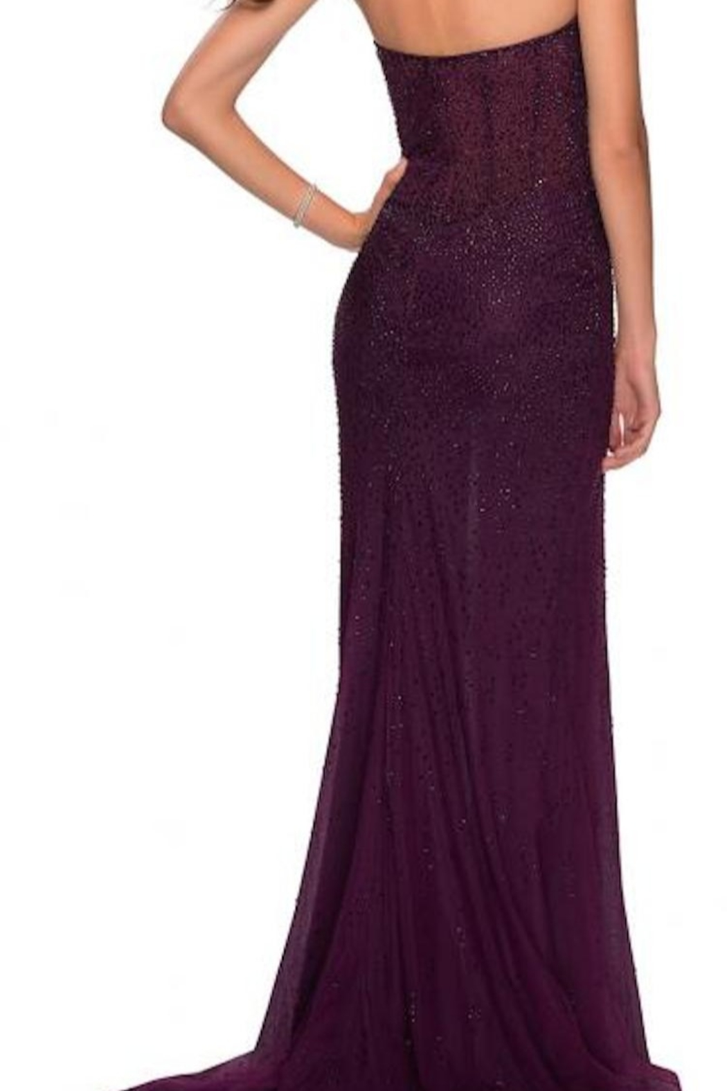 La femme Strapless Beaded Gown - Front Full Image