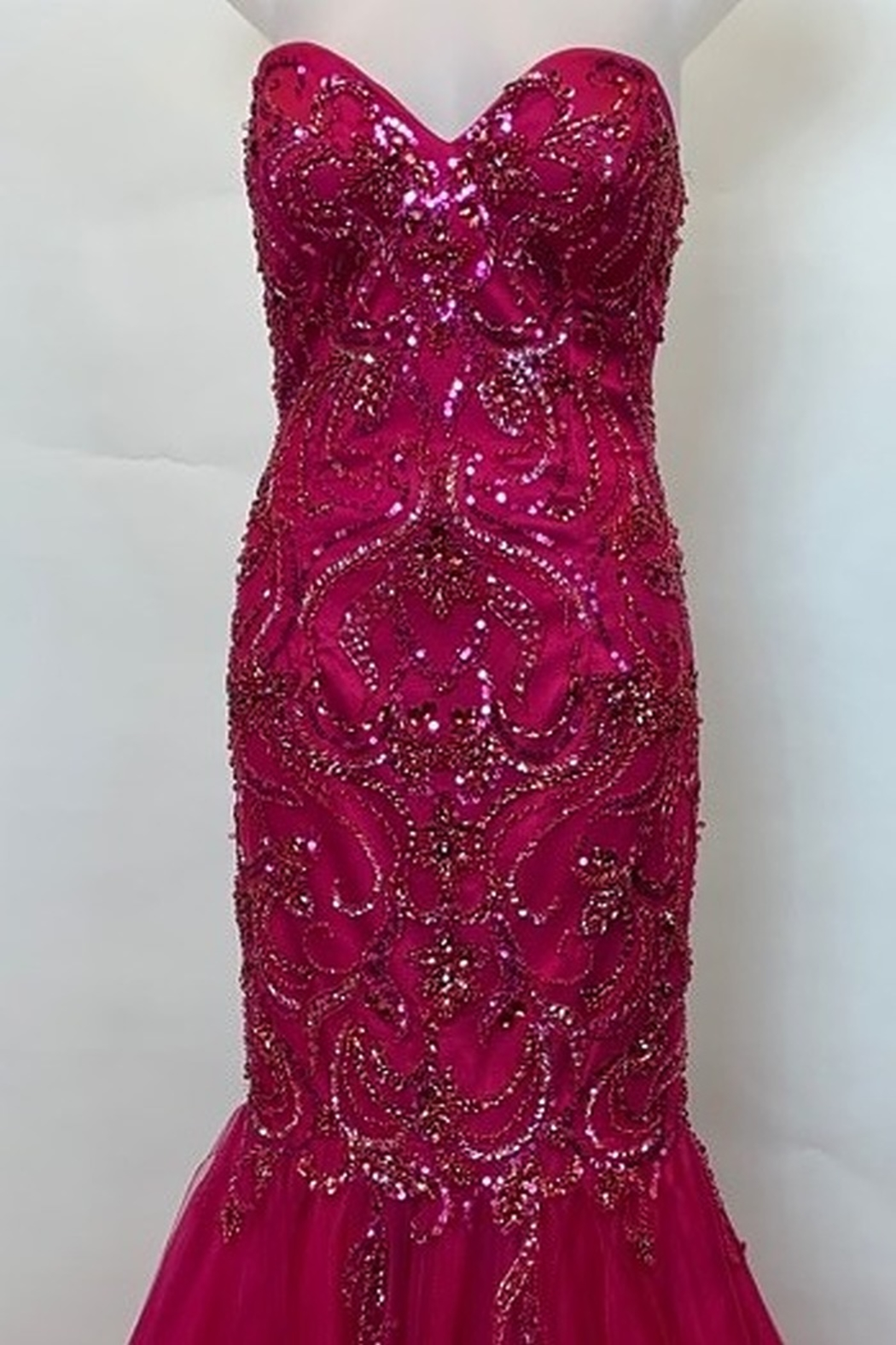 Mac Duggal STRAPLESS BEADED MERMAID STYLE GOWN - Front Full Image