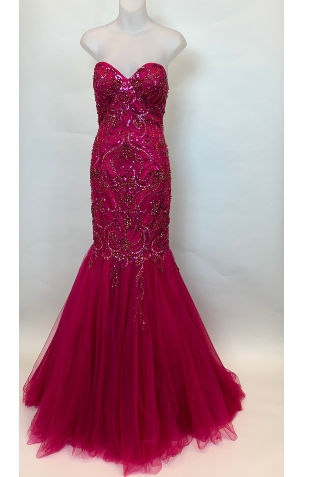 Mac Duggal STRAPLESS BEADED MERMAID STYLE GOWN - Main Image