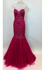 Mac Duggal STRAPLESS BEADED MERMAID STYLE GOWN - Front cropped