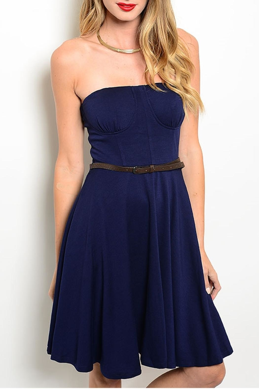 Alythea Strapless Belted Dress - Front Cropped Image