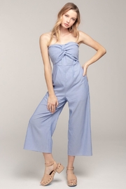 Everly Strapless Blue-Pinstripe Jumpsuit - Product Mini Image