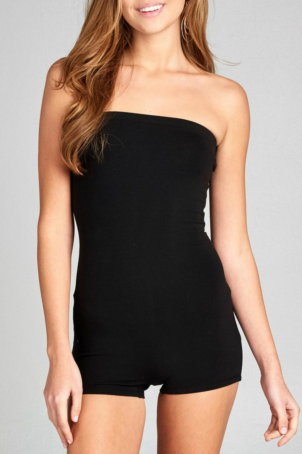Minx Strapless Bodycon Romper - Front Cropped Image