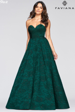 Faviana Strapless Brocade Gown - Product List Image