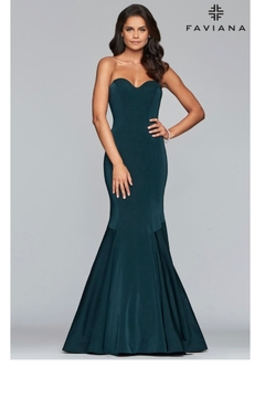 Faviana Strapless Evergreen Gown - Product List Image