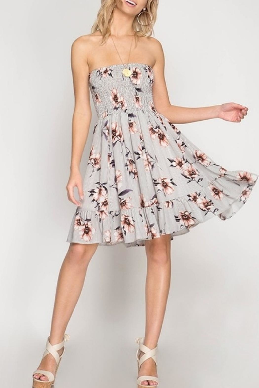 She + Sky Strapless Floral Dress - Main Image