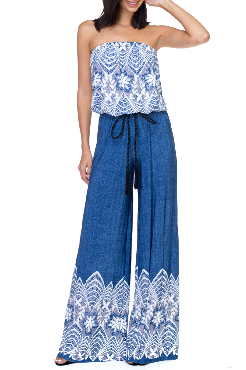 Ariella USA Strapless Jumpsuit w Rope Belt - Front Cropped Image