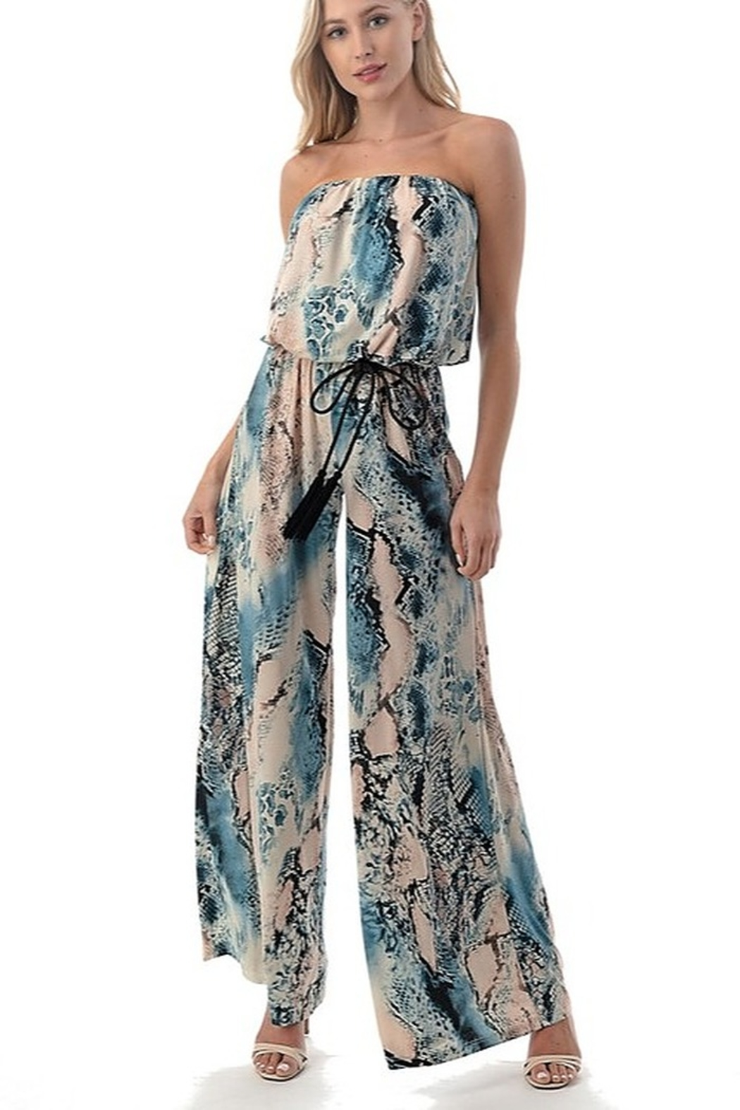 Ariella Strapless Jumpsuit with Cord - Front Cropped Image