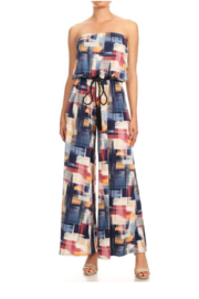 Ariella Strapless Jumpsuit with Rope Belt - Product Mini Image