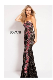 Jovani Strapless Lace Gown - Product Mini Image