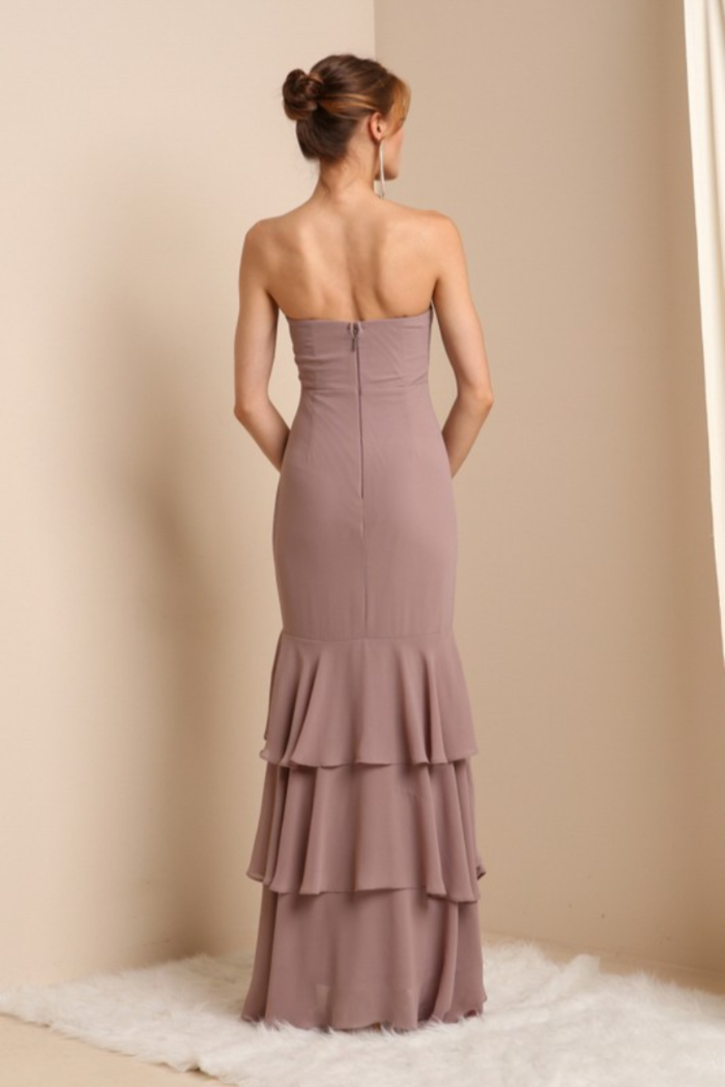 Soieblu Strapless Layered Ruffle Gown - Front Full Image