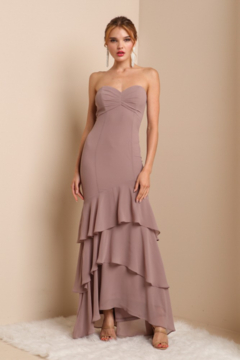 Shoptiques Product: Strapless Layered Ruffle Gown
