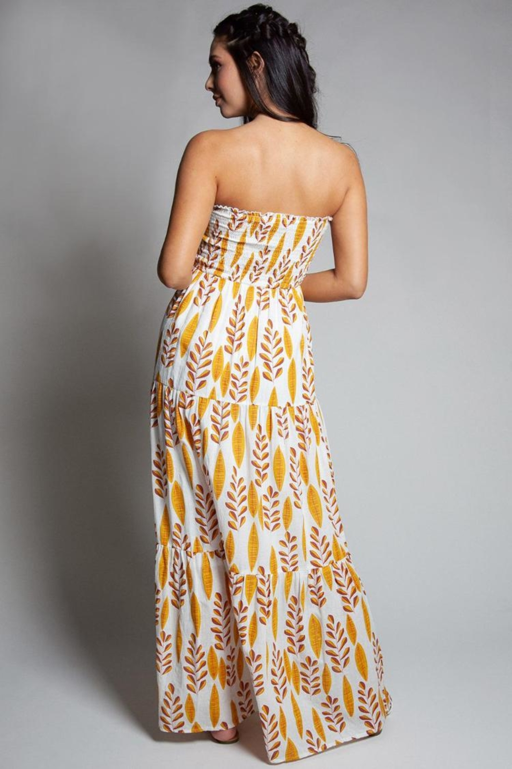 Latiste Strapless Leaf-Print Dress - Front Full Image