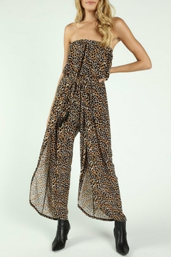 Wild Honey Strapless Leopard Jumpsuit - Product List Image