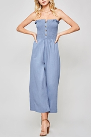 Promesa USA Strapless Linen Jumpsuit - Front cropped