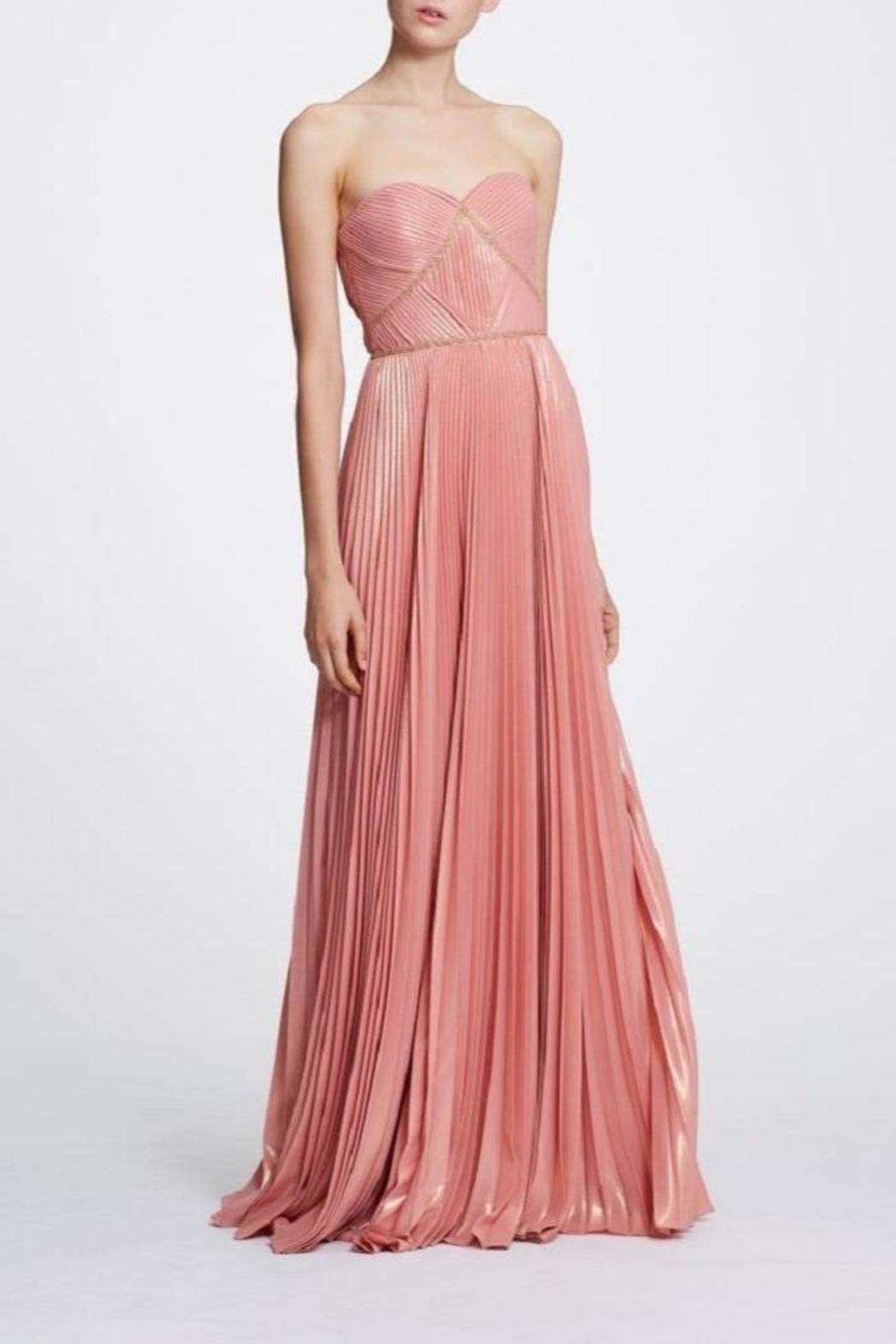 Marchesa Strapless Pleated Gown - Front Cropped Image