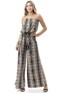 Ariella USA Strapless Reptile Print Jumpsuit w Rope Belt - Product List Image