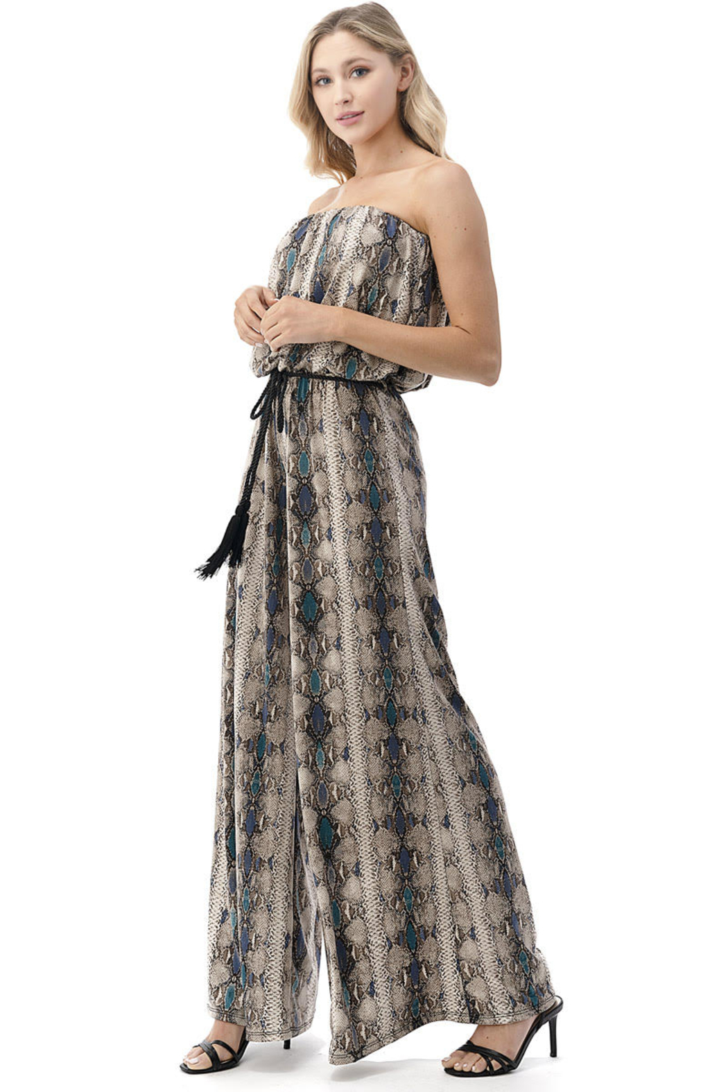 Ariella USA Strapless Reptile Print Jumpsuit w Rope Belt - Front Full Image