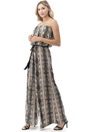 Ariella USA Strapless Reptile Print Jumpsuit w Rope Belt - Front full body