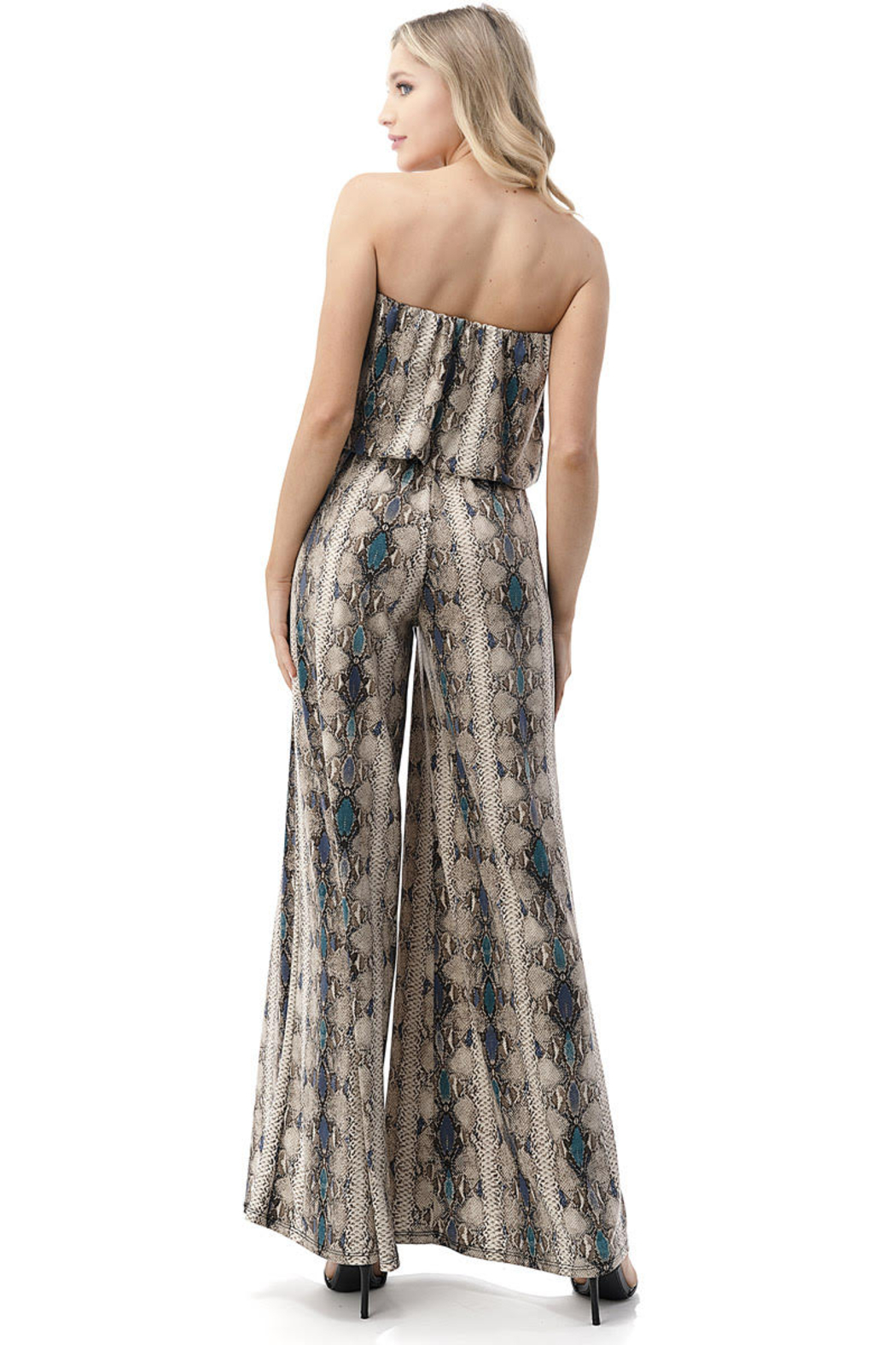 Ariella USA Strapless Reptile Print Jumpsuit w Rope Belt - Side Cropped Image
