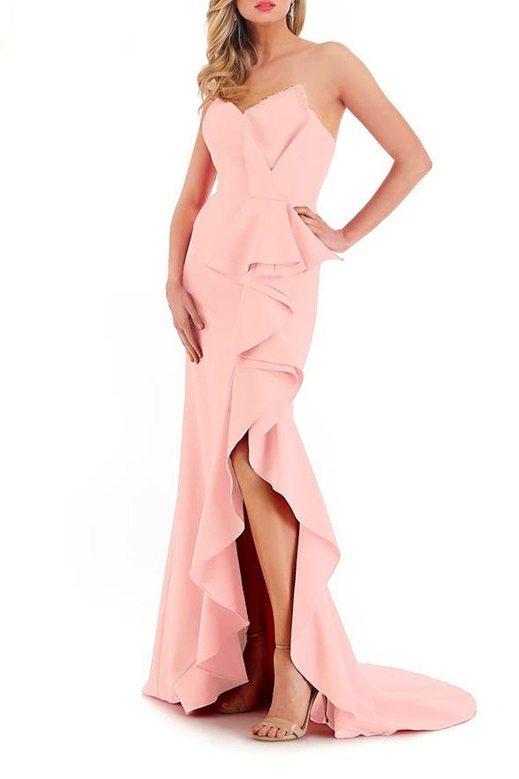 Morrell Maxie Strapless Ruffle Front Gown - Main Image