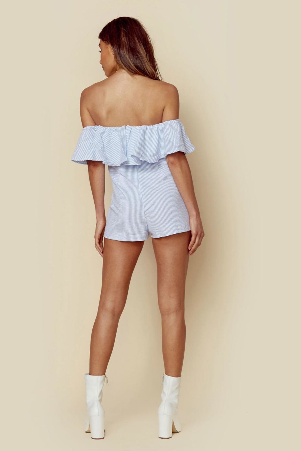 Blue Life Strappless Ruffle Romper - Side Cropped Image