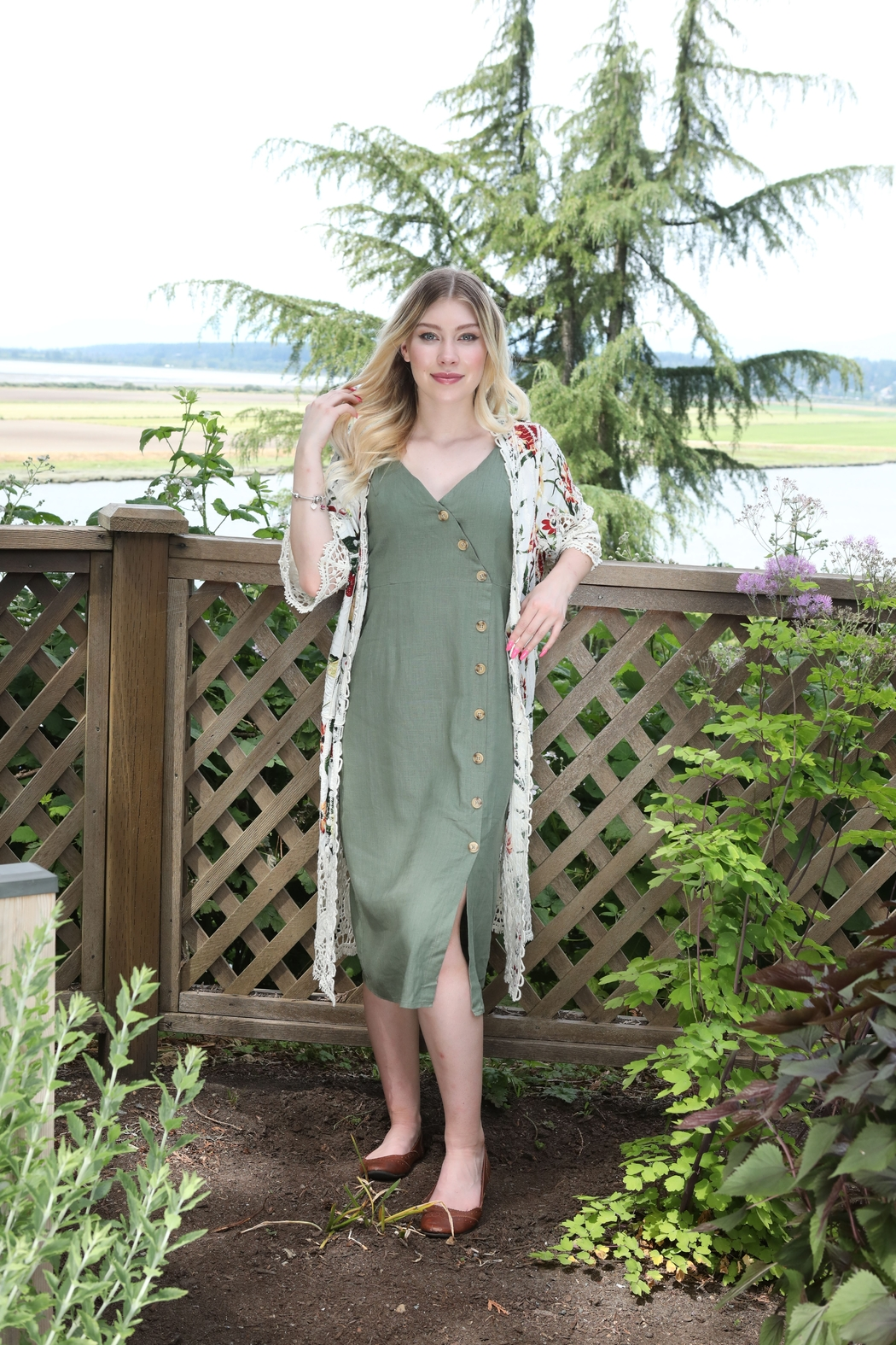 Papillon  Strappy Button Dress - Front Full Image
