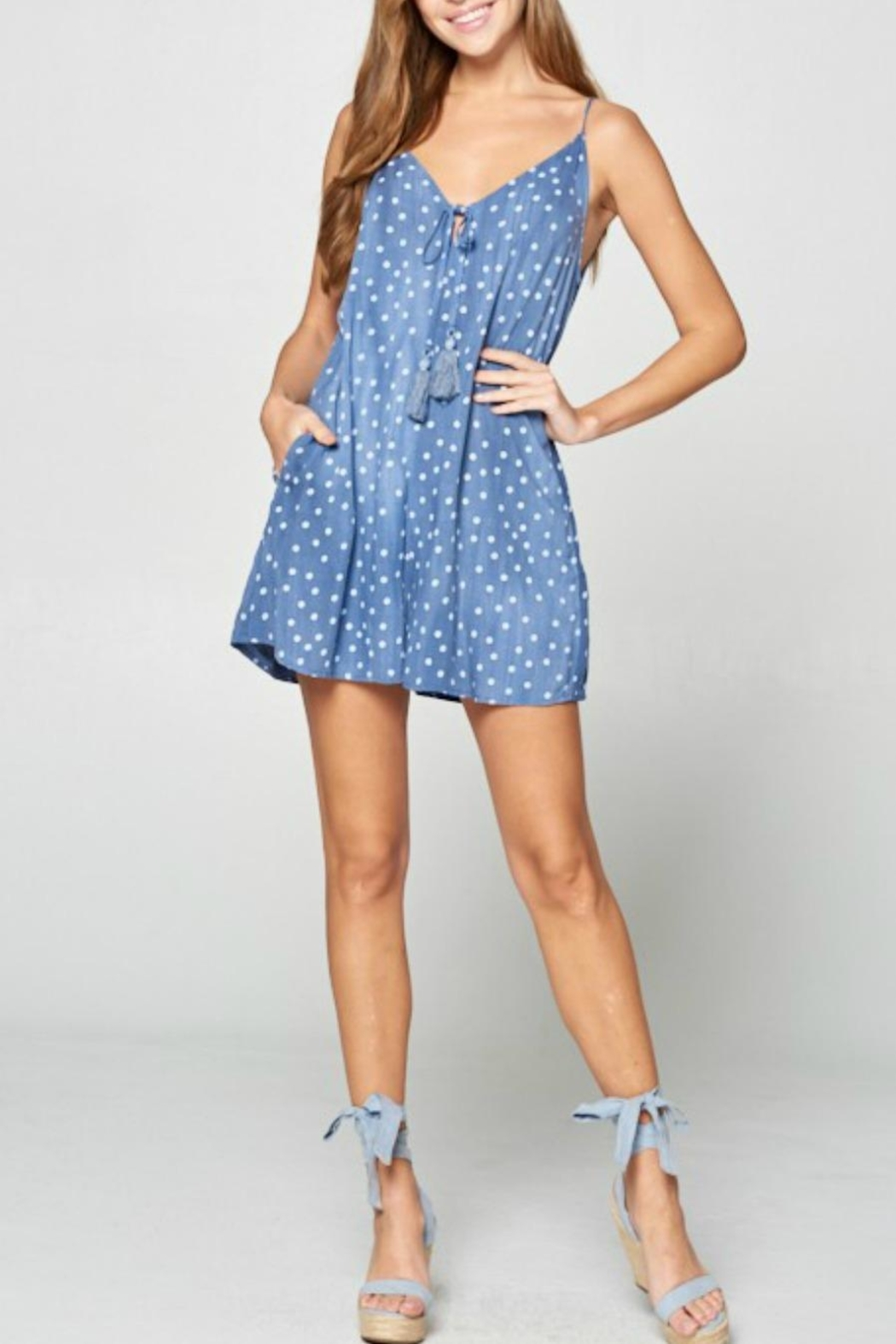 Style Rack Strappy Dot Romper - Front Full Image