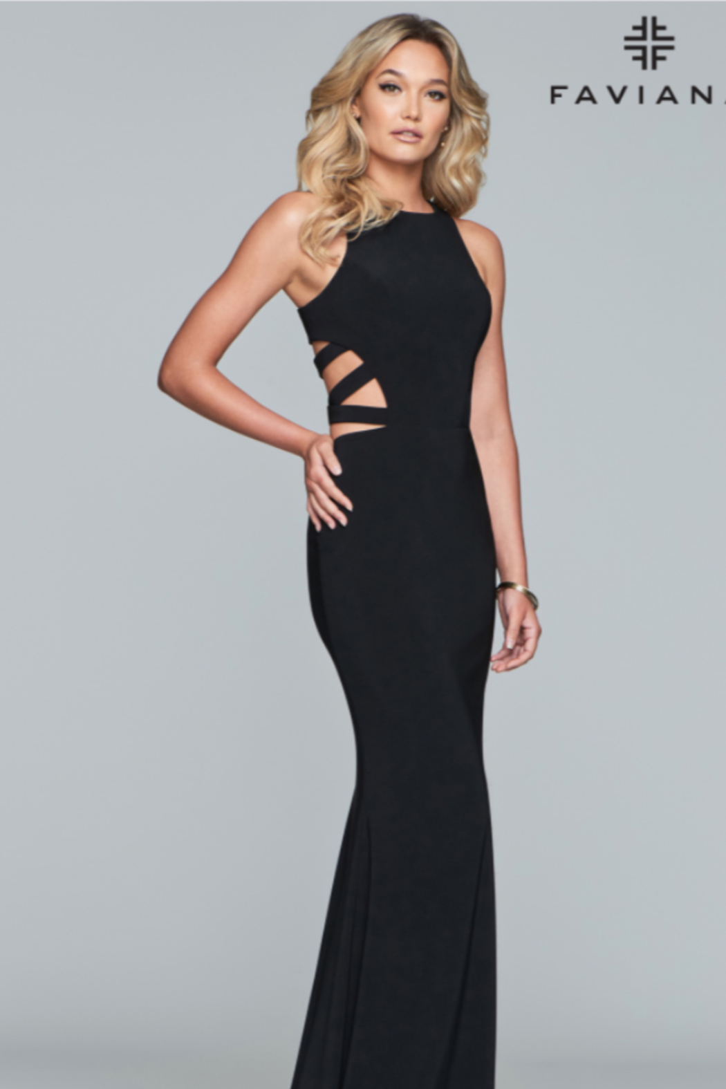 Faviana Strappy Evening Gown - Front Full Image