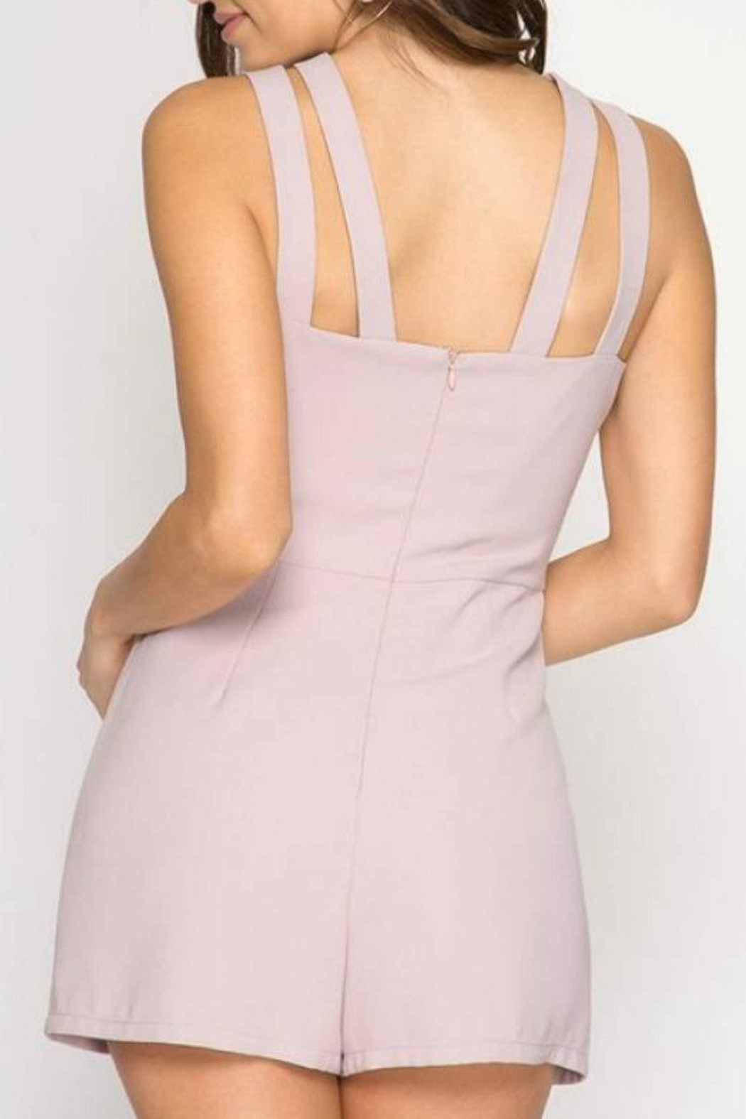 She + Sky Strappy Keyhole Romper - Front Full Image