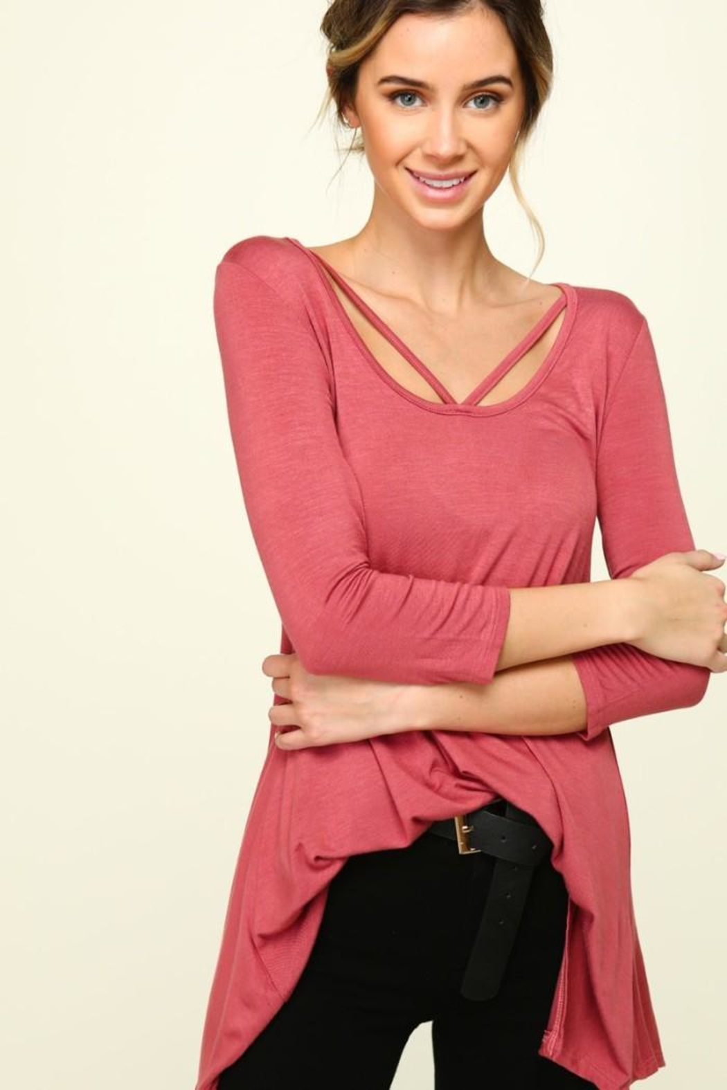 Olivia Pratt Strappy Knit Top - Front Cropped Image
