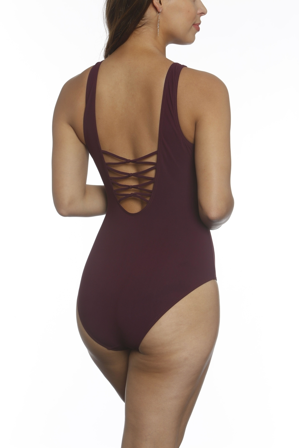 Sun & Sea Trading Company Strappy V-Neck Swimsuit - Front Full Image