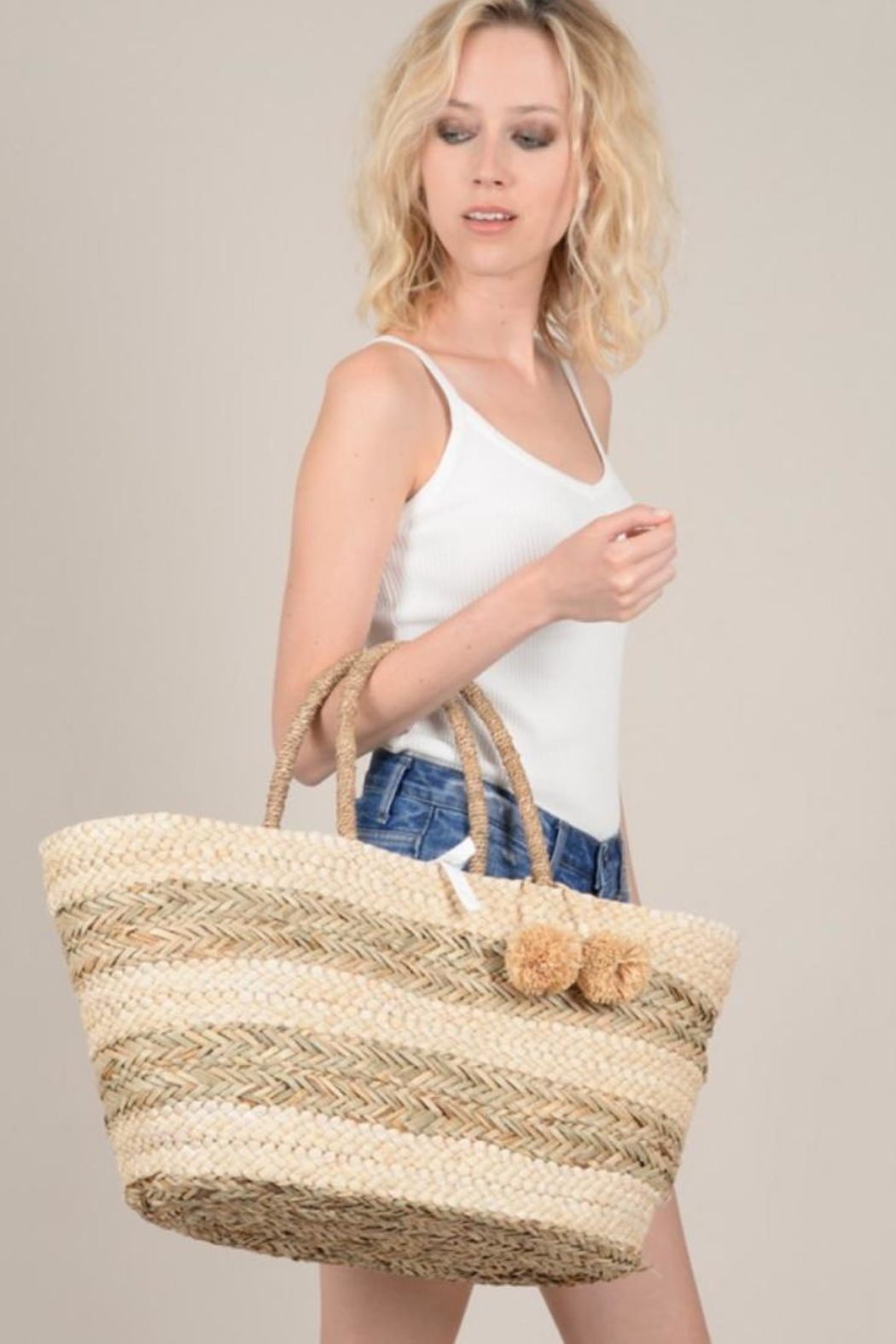 Molly Bracken Straw Beach Bag - Front Full Image