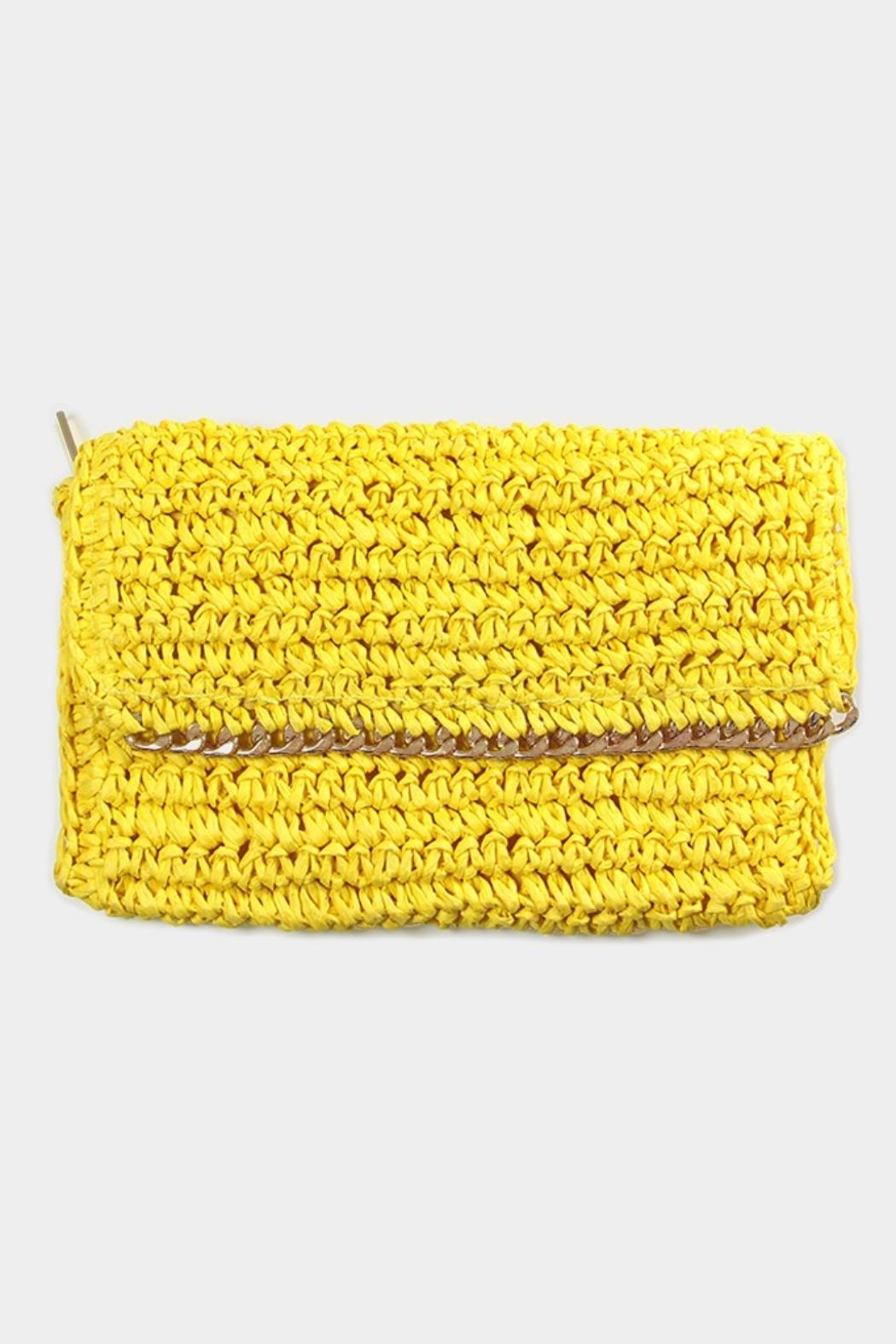 Embellish Straw Chain Clutch - Front Full Image