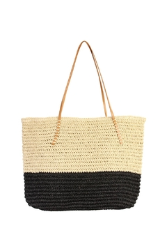 Riah Fashion Straw Leather Tote - Product List Image