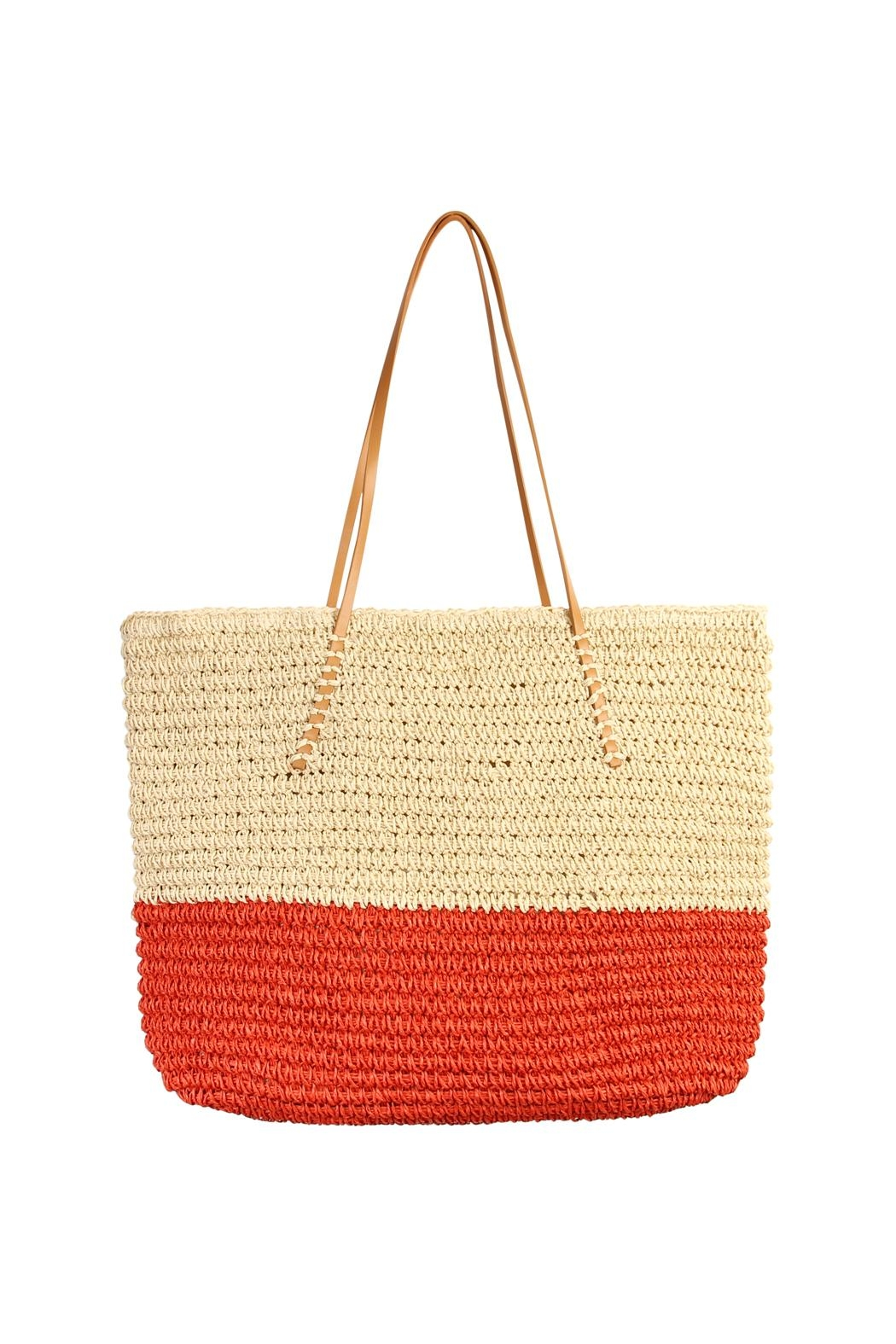 Riah Fashion Straw Leather Tote - Front Cropped Image