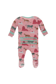 Kickee Pants Strawberry Big Cats Muffin Ruffle Footie With Zipper - Front full body