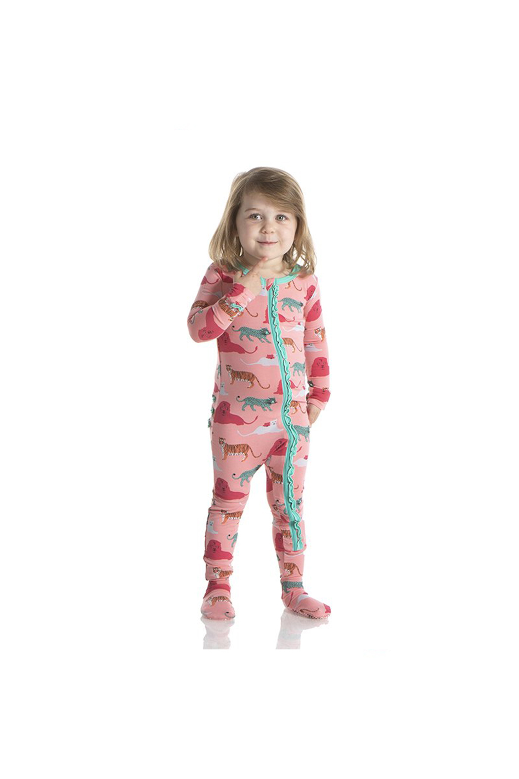 Kickee Pants Strawberry Big Cats Muffin Ruffle Footie With Zipper - Side Cropped Image