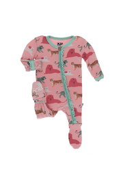 Kickee Pants Strawberry Big Cats Muffin Ruffle Footie With Zipper - Front cropped